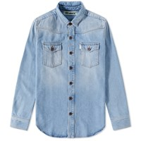 Off White Brushed Denim Shirt Blue