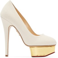 Charlotte Olympia Off White Canvas Dolly Heels