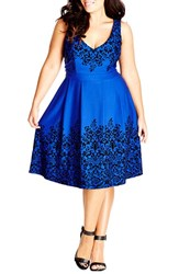 Plus Size Women's City Chic Border Flocked Fit And Flare Dress French Blue
