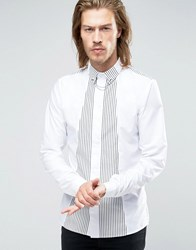 Rogues Of London Skinny Shirt With Stripe Shawl White Black Stripe
