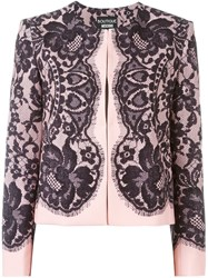 Boutique Moschino Lace Print Fitted Jacket Black