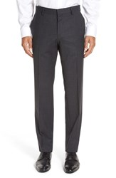 Boss Men's 'Genesis' Flat Front Check Stretch Wool Trousers Dark Grey