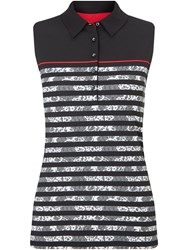 Callaway Lace Stripe Sleeveless Polo Black