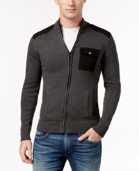 American Rag Men's Full Zip Mock Collar Sweater Only At Macy's Charcoal