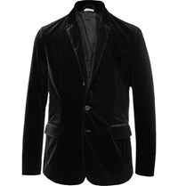 Tomas Maier Toma Black Lim Fit Untructured Tretch Cotton Velvet Blazer Black