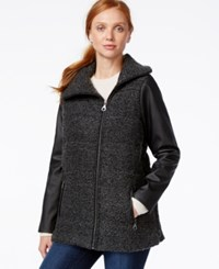 G.H. Bass And Co. Faux Leather Sleeve Coat Grey Black
