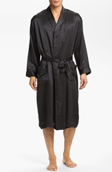 Majestic International Dot Silk Robe Black