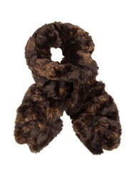 Dents Ladies Crushed Faux Fur Scarf Chocolate