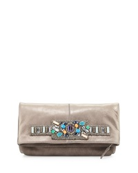 Mary Frances Beaded Game Changer Leather Clutch Bag Silver