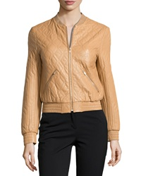 Halston Heritage Long Sleeve Quilted Leather Jacket Tan