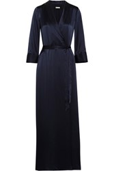 Reformation Silk Wrap Maxi Dress Navy