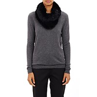 Barneys New York Women's Knitted Fur Cowl Scarf Black Blue Black Blue