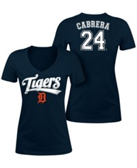 5Th And Ocean Women's Miguel Cabrera Detroit Tigers Foil Player T Shirt Navy