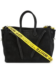 Off White Double Handle Large Tote Black