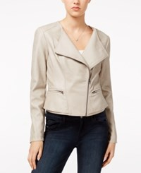 Maison Jules Faux Leather Peplum Moto Jacket Only At Macy's Antique White