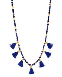 Charm And Chain Tassel Necklace 30 Blue
