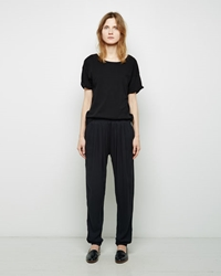 Black Crane Pleats Pants Black Grey