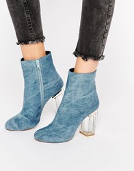 Public Desire Claudia Blue Clear Heel Ankle Boot Blue Denim