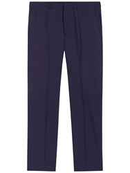 Jaeger Wool Regular Fit Travel Suit Trousers Navy