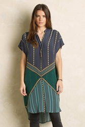 Anthropologie Emerald Grove Shirtdress Green Motif