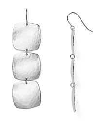 Nancy B Hammered Cushion Drop Earrings Silver