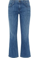 Current Elliott The Kick Cropped Mid Rise Flared Jeans Mid Denim
