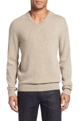 Nordstrom Men's Big And Tall Men's Shop Cashmere V Neck Sweater Tan Portabella