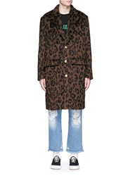 Palm Angels Leopard Print Mohair Blend Coat Animal Print Brown
