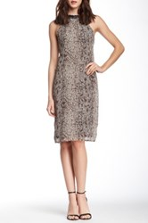 Blvd Embellished Neck Snakeskin Print Dress Gray