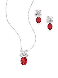 Rice Swarovski Crystal Stud Earrings And Pendant Necklace Set Silver Red