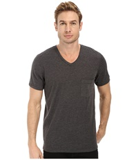 7 For All Mankind Short Sleeve Raw V Neck Heather Charcoal Men's T Shirt Gray