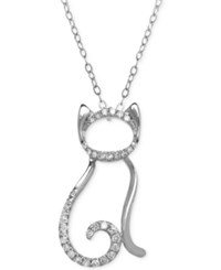 Macy's Diamond Cat Pendant Necklace 1 10 Ct. T.W. In 10K White Gold