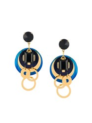 Marni Multi Disc Clip On Earrings Blue