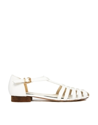 Truffle Collection Truffle Tbar Gladiator Flat Shoes White