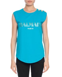 Balmain Button Shoulder Logo Muscle Tee Turquoise