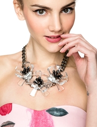 Pixie Market Floral Mania Statement Crystal Necklace