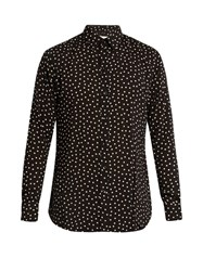 Saint Laurent Polka Dot Print Poplin Shirt Black Multi