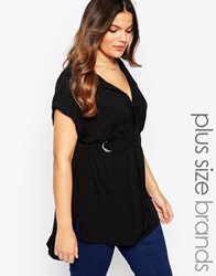 New Look Inspire D Ring Woven Top Black