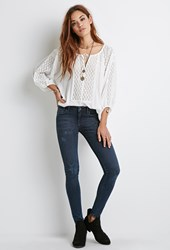 Forever 21 Dark Sanded Wash Skinny Jeans Dark Denim