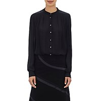 Rhie Women's Pleated Chiffon Blouse Black Blue Black Blue