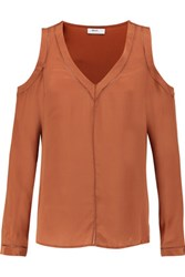 Bailey 44 Pointelle Trimmed Cutout Silk Top Tan