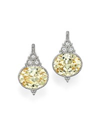 Judith Ripka Sterling Silver La Petite Oval Earrings With White Sapphire And Canary Crystal Yellow Silver