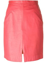 Stephen Sprouse Vintage Leather Skirt Pink And Purple