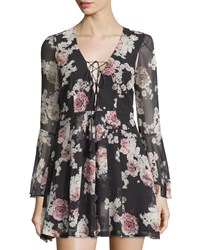 The Jetset Diaries Lace Up Fit And Flare Dress Rosa Floral