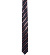 Sandro Classic Striped Silk Tie Navy Blue