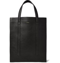 Paul Smith Gusseted Full Grain Leather Tote Bag Black