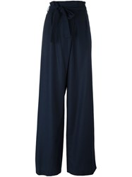 Msgm Belted Palazzo Pants Blue
