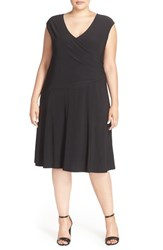 Plus Size Women's Nic Zoe Matte Jersey Faux Wrap Fit And Flare Dress