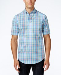 Club Room Men's Plaid Short Sleeve Shirt Only At Macy's Palace Blue