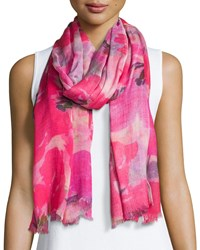 Neiman Marcus Blooming Floral Fringe Scarf Pink